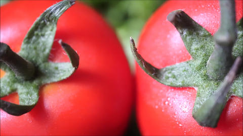 Panning on two fresh organic red tomatoes on green background Footage