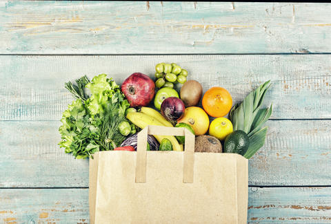 Healthy food, vegetables, Different food, detox, Paper bag, set, Grocery Photo