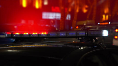 Police Lights At An Intersection Stock Video Footage