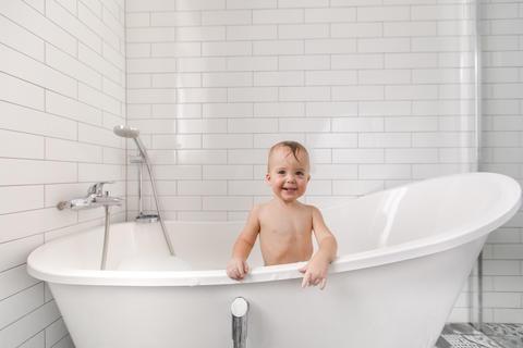 Cute boy in bathroom Photo