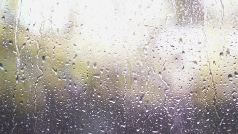 Rain Drops On Glass Footage