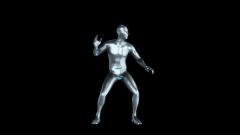 3D Metal Man with Blue Reflections Animation Loop Graphic Element Animation