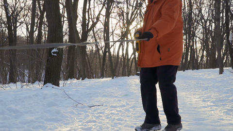 Fluffy Samoyed Dog In Winter Park