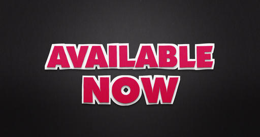 Available now. Pink letters fly from the top in and disappear again. Stop Animation