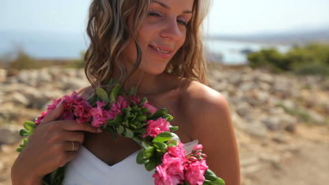 Bride in white dress on the beach. slow motion Live Action