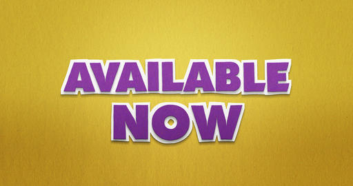 Available now. purple letters fly from the top in and disappear again Animation