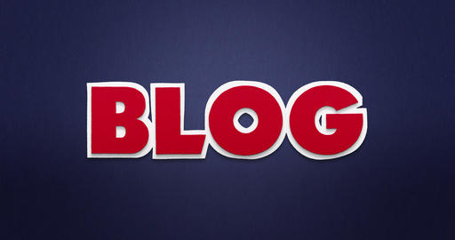 Blog. Intro. The word blog in a stop motion animation with paper pattern Animation
