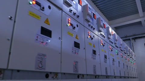 boxes row of electrical appliances with illuminated buttons Live Action