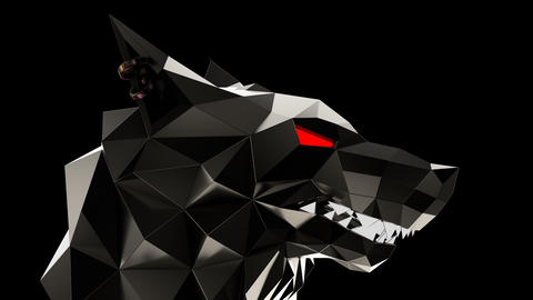 Low Poly Wolf Head Animation