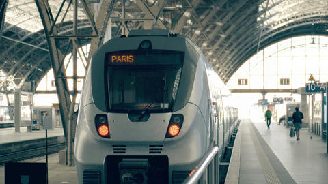Modern train to Paris. Travelling to France conceptual intro clip Footage