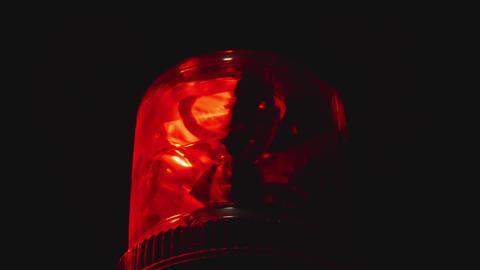 Rotating patrol light be lighting at night Stock Video Footage