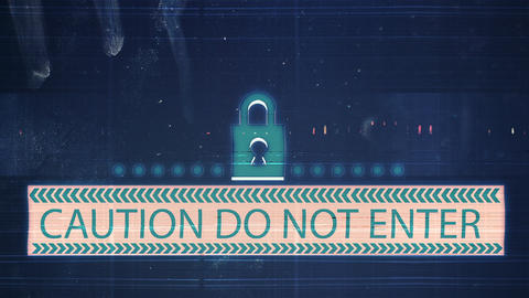 The noise of the TV and Glitch with the inscription Caution Do not enter Animation