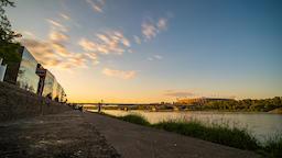 Warsaw Vistula Riverside Stairs Sunset Timelapse Warszawa Wisła Schodki Footage