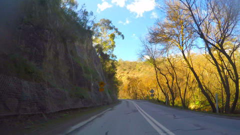 Australian winding mountain road, vehicle POV, driving along Gorge Scenic Drive, Live Action