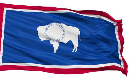 Isolated Waving National Flag of Wyoming Animation