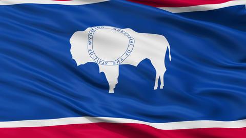 Close Up Waving National Flag of Wyoming Animation