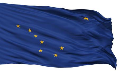 Isolated Waving National Flag of Alaska Animation
