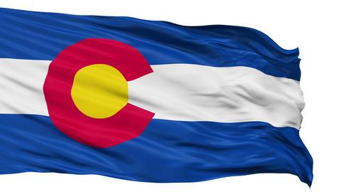 Isolated Waving National Flag of Colorado Animation