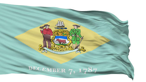 Isolated Waving National Flag of Delaware Animation