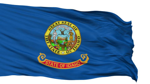 Isolated Waving National Flag of Idaho Animation