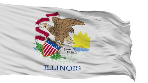 Isolated Waving National Flag of Illinois Animation