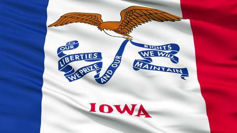 Close Up Waving National Flag of Iowa Animation