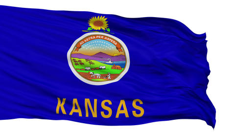 Isolated Waving National Flag of Kansas Animation