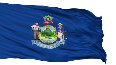 Isolated Waving National Flag of Maine Animation