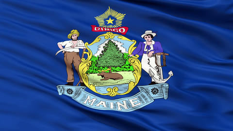 Close Up Waving National Flag of Maine Animation