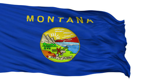 Isolated Waving National Flag of Montana Animation