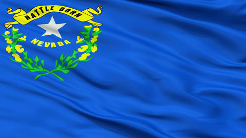 Close Up Waving National Flag of Nevada Animation
