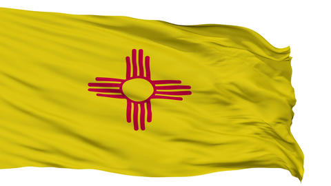 Isolated Waving National Flag of New Mexico Animation