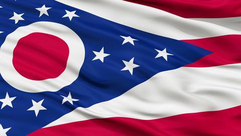 Close Up Waving National Flag of Ohio Animation