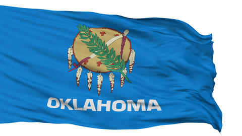 Isolated Waving National Flag of Oklahoma Animation