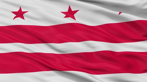 Close Up Waving National Flag of Washington D.C. City Animation