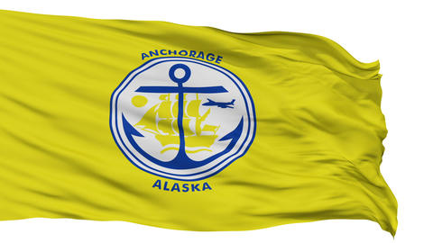 Isolated Waving National Flag of Anchorage City Animation