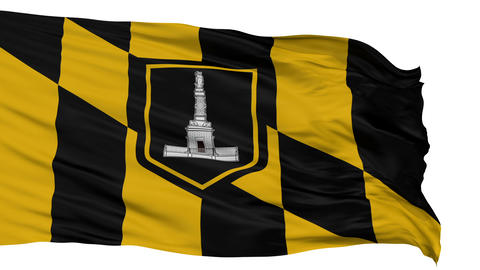 Isolated Waving National Flag of Baltimore City Animation