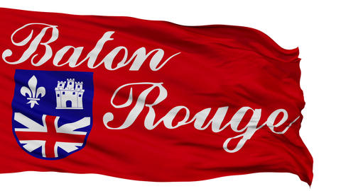 Isolated Waving National Flag of Baton Rouge City Animation