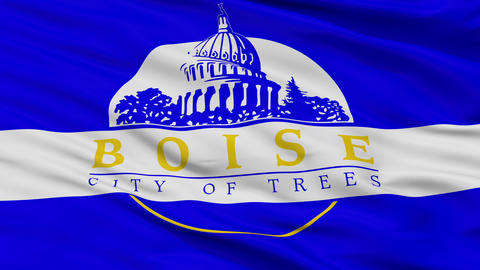 Close Up Waving National Flag of Boise City Animation