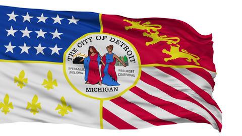 Isolated Waving National Flag of Detroit City Animation