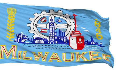 Isolated Waving National Flag of Milwaukee City Animation
