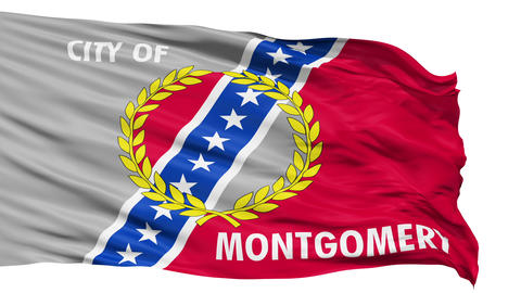 Isolated Waving National Flag of Montgomery City Animation