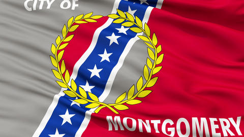 Close Up Waving National Flag of Montgomery City Animation