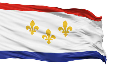 Isolated Waving National Flag of New Orleans City Animation
