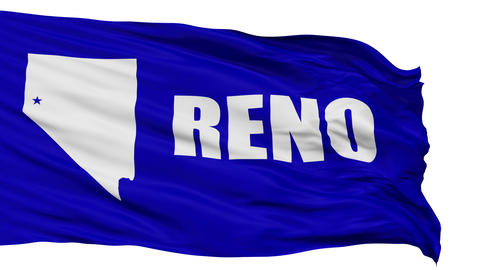 Isolated Waving National Flag of Reno City Animation