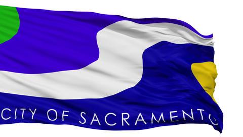 Isolated Waving National Flag of Sacramento City Animation