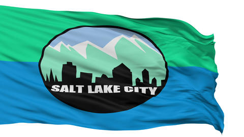 Isolated Waving National Flag of Salt Lake City Animation