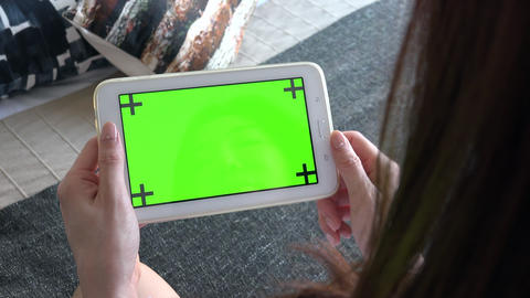 Ipad Monitor Tablet Green Screen With Woman Visiting Internet Website Live Action