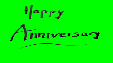 Green screen animation calligraphy writing happy anniversary with black ink on Animation