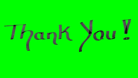 Green screen animation calligraphy writing thank you with black ink on paper Animation